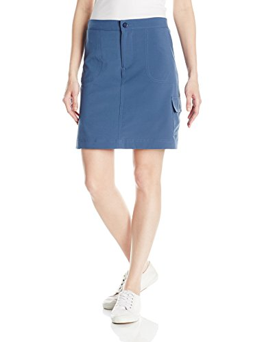 Riders by Lee Indigo Women's Performance Skort with Knit Waist, Dark Denim, 12 - Embroidered Denim Skort