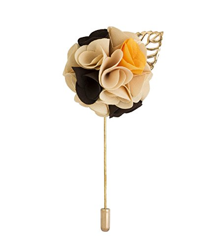 Knighthood Men's Cream Black and Yellow Lapel Pin/Brooch Multi