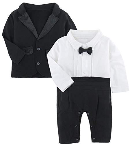 (A&J Design Baby Boys' Infant Handsome Tuxedo Bowtie Romper and Jacket 2 Piece Set Outfit (6-9 Months,)