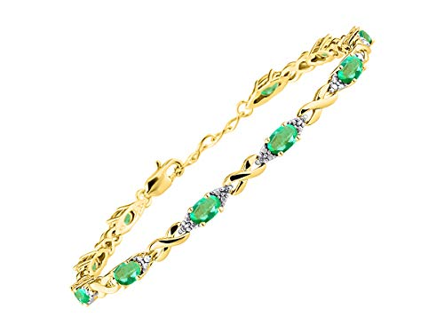 Stunning Emerald & Diamond XOXO Hugs & Kisses Tennis Bracelet Set in Yellow Gold Plated Silver - Adjustable to fit 7