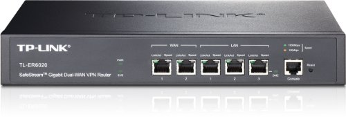 TP-Link SafeStream TL-ER6020 Gigabit Broadband Desktop/Rackmount VPN Router, 940M NAT throughput, 40k Concurrent Sessions, 64 IPSec VPN Tunnels, VLAN, Multi-NAT, 4 WAN Load balance or auto failover