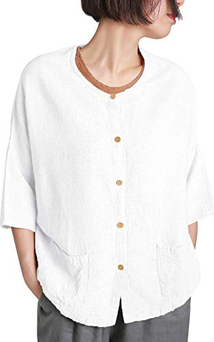 Rayon Cotton Linen Fabric - Ecupper Women's 3/4 Draped Sleeve Button Down Loose Linen Rayon Long Tunic Blouse Shirts White US(8-10)/TagM