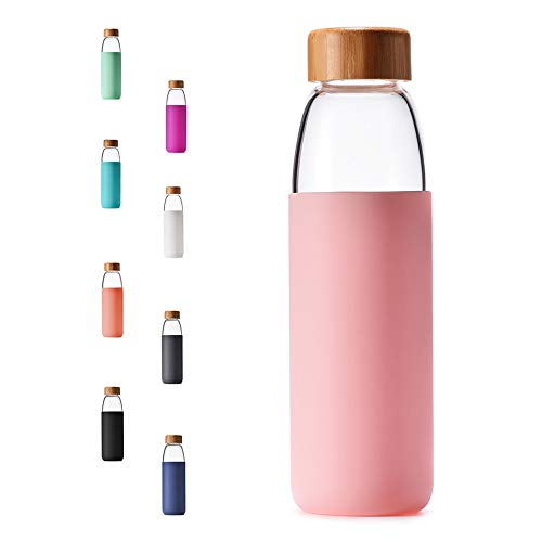 Veegoal 18 Oz Borosilicate Glass Water Bottle with Bamboo Lid and Protective Sleeve-Bpa Free (Pink)