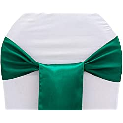 mds Pack of 75 Satin Chair Sashes Bow sash for Wedding and Events Supplies Party Decoration Chair Cover sash -Emerald Green