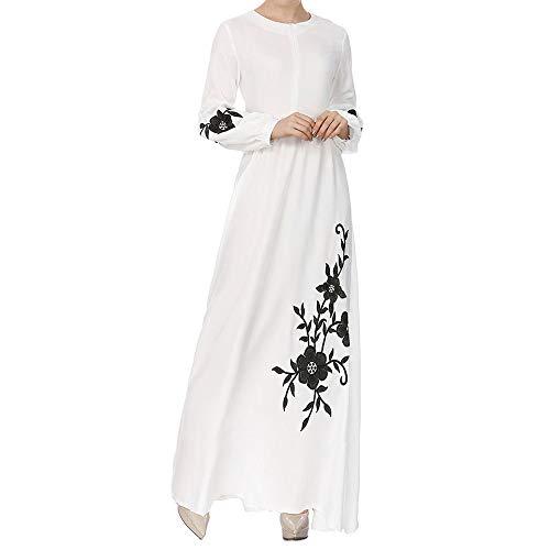 QueenMM  Women's Long Sleeve Chiffon Maxi Dress High Waist Muslim Soft Lightweight Long Dress -