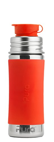 Pura Sport 11 oz/325 ml Stainless Steel Kids Sport Bottle with Silicone Sport Flip Cap & Sleeve, Orange (Plastic Free, Nontoxic Certified, BPA Free)