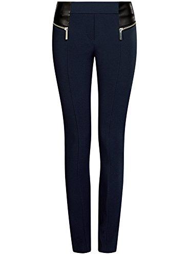 oodji Collection Mujer Pantalones Stretch con Cremalleras Decorativas Azul (7900N)