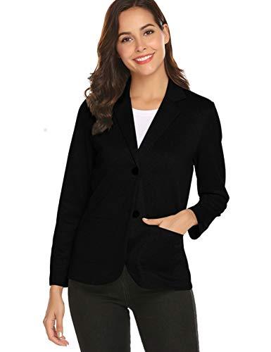 ZHENWEI Womens Suit Jackets and Blazers Black Slim Soft Long Sleeve 2 Button Blazer Stretch Crepe (Black Suit Crepe)