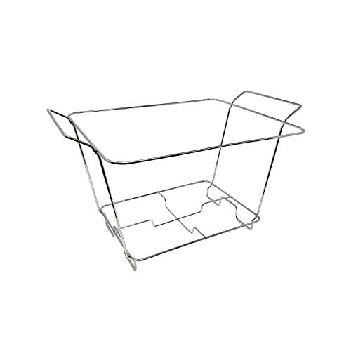 Party Essentials Deluxe Half Size Heavy Duty Chafing Rack, Wire Buffet Rack Stand, Serving Trays Frame Food Warmer, Chrome (Case of 12)
