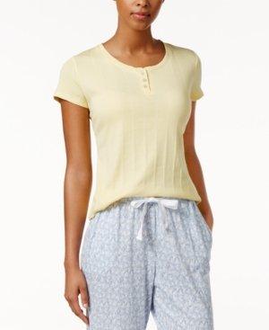 Nautica Henley Ribbed Knit Pajama T-SH Yellow XS