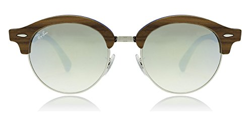 Ray-Ban-Wood-Unisex-Non-Polarized-Iridium-Round-Sunglasses-Silver-51-mm