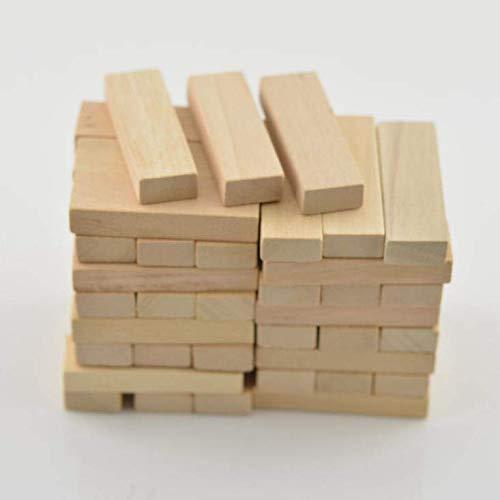 OKIl 48Pcs Wood Block Carving Natural Wooden 51x16x9mm DIY Model Building Crafts Making Decorations