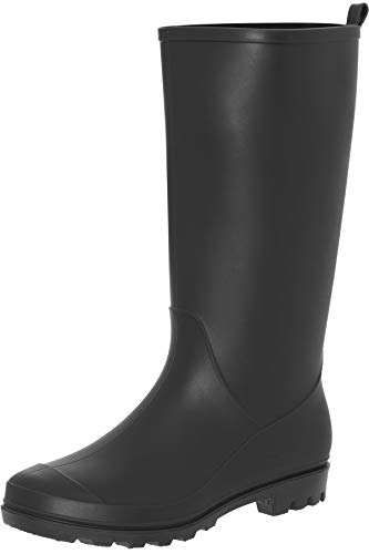 Capelli New York Ladies Matte Solid Tall Rain Boot with Back Pull Loop Black ()
