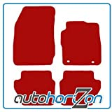 FIAT 1 FIXING CLIP RED FULLY TAILORED CAR FLOOR MAT SET
