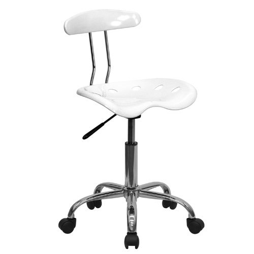 Flash Furniture Vibrant White and Chrome Swivel Task Chair with Tractor Seat ()