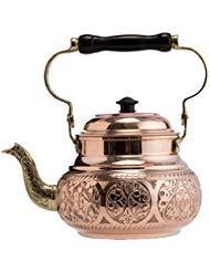 (2 Variations) DEMMEX 2017 Hammered Copper Tea Pot Kettle Stovetop Teapot, 1.6-Quart (Engraved Copper) by DEMMEX