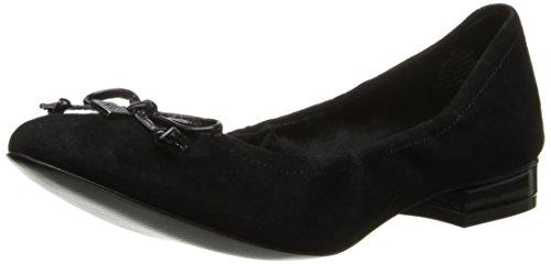 AK Anne Klein Women's Petrica Suede Ballet Flat, Black, 10 M US