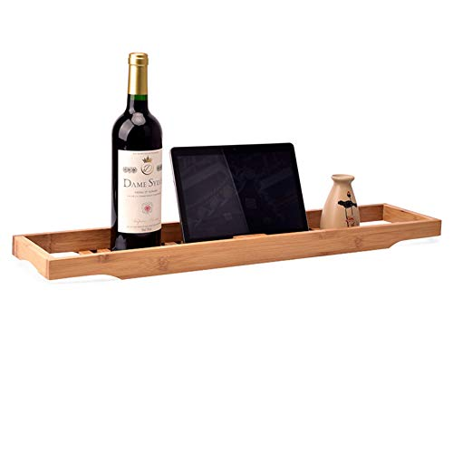 GX&XD Simple Bathtub Caddy Tray,Bamboo Wooden Bath Tray with Book and Wine Holder Non-Slip Multifunction Bathtub Tray Shelf for Bathroom Spa Bath-A