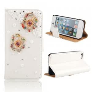 Flowers Pattern Rhinestone Flip Leather Protective Case w/ Stand Holder for iPhone 5/5S