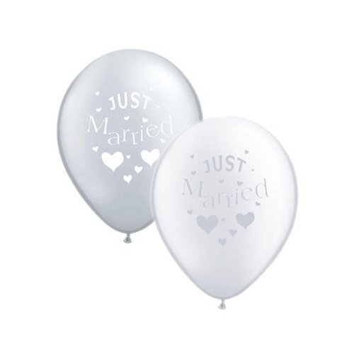 wholesale dealer a06c0 9a822 Just Married Silver & White Balloon Pack (10 Pack) (XBP306 ...
