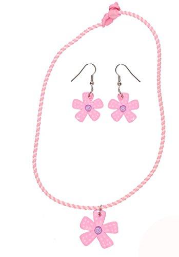 Bisutería infantil de plástico, multicolor–Collar y Pendientes–flor–Rosa