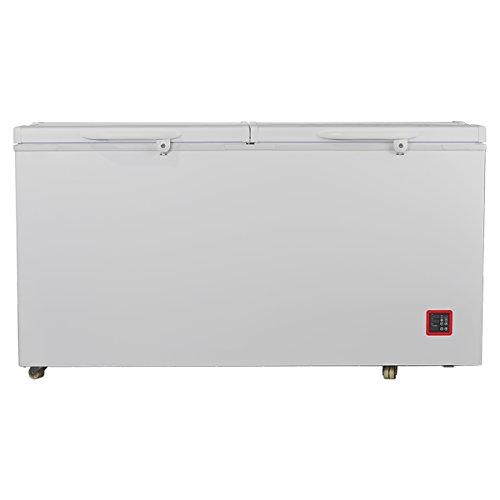 (SMETA 12V/24V Portable Solar Refrigerator Freezer Double Doors DC Compressor Chest Freezer with AC Adapter,12.78 cu ft)