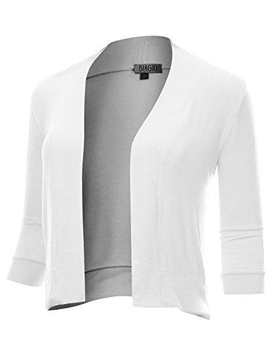 (BIADANI Women Classic 3/4 Sleeve Crop Cardigan White Medium)