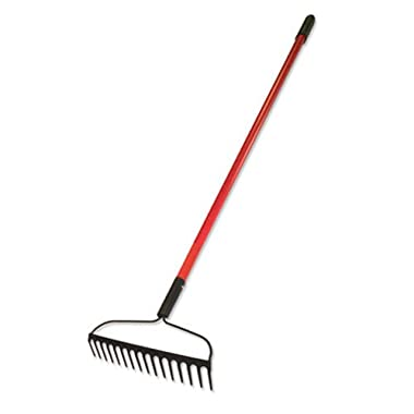 Bully Tools 92309 12-Gauge 16-Inch Bow Rake with Fiberglass Handle and 16 Steel Tines, 58-Inch
