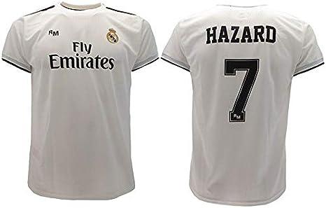 Real Madrid Camiseta de Fútbol Replica Oficial con Licencia Hazard Blanco número 7 en blíster Regalo - Todos Los Tamaños NIÑO y Adulto - X-Large: Amazon.es: Ropa y accesorios