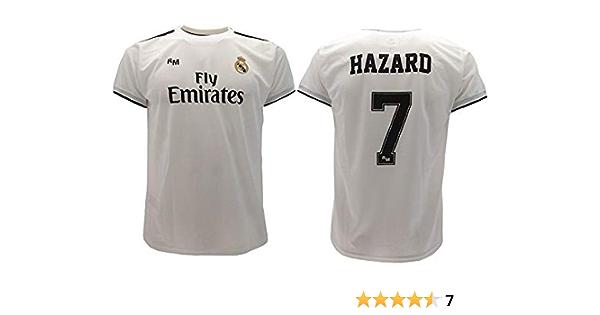 Real Madrid Camiseta de Fútbol Replica Oficial con Licencia Hazard Blanco número 7 en blíster Regalo - Todos Los Tamaños NIÑO y Adulto