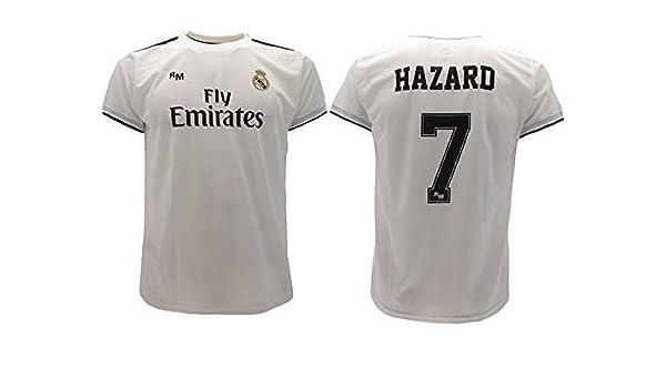 Real Madrid Camiseta de Fútbol Replica Oficial con Licencia Hazard Blanco número 7 en blíster Regalo - Todos Los Tamaños NIÑO y Adulto - 2 años: Amazon.es: Ropa y accesorios