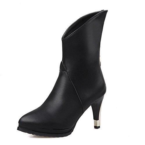 HCuatro desgaste cristal XIAOGANG H ayuda puntiaguda estaciones marrón fina blanco de con black 39 negro rojo botas las alta mujeres de de botas antideslizantes q51F1wZ