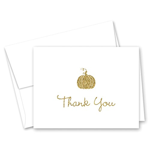 50 Cnt Pumpkin Thank You Cards (Faux Gold Glitter) - Not Real Glitter (Faux White Pumpkins)