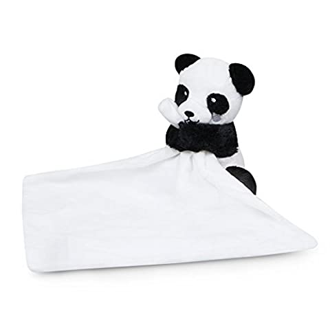 Waddle Panda Stuffed Animal Unisex Baby Blanket Rattle Toy Lovey Black and White (Animal Baby Blankets For Girls)