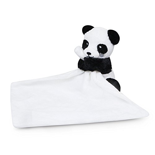 Waddle Panda Stuffed Animal Unisex Baby Blanket Rattle Toy Lovey Black and White]()