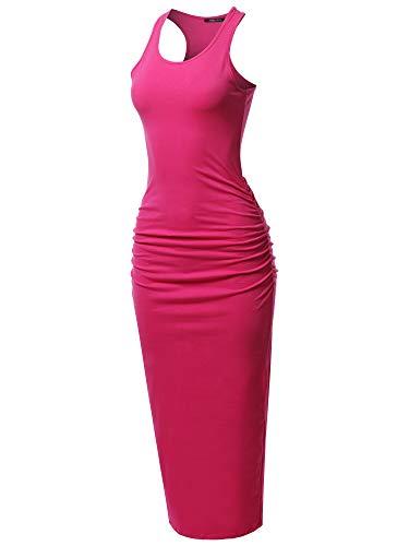 - SSOULM Women's Shirring Racerback Tank Maxi Dress with Plus Size Fuchsia 3XL