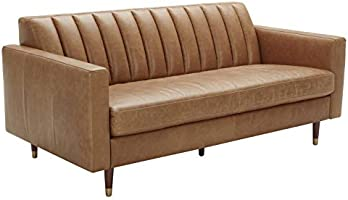 "Amazon Brand – Rivet Damien Mid-Century Modern Channel-Backed Loveseat Sofa, 75""W, Leather, Cognac"