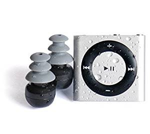 SILVER - 100% WATERPROOF Apple iPod shuffle - waterproofed by UNDERWATER AUDIO for swimming, surfing and dancing in the rain