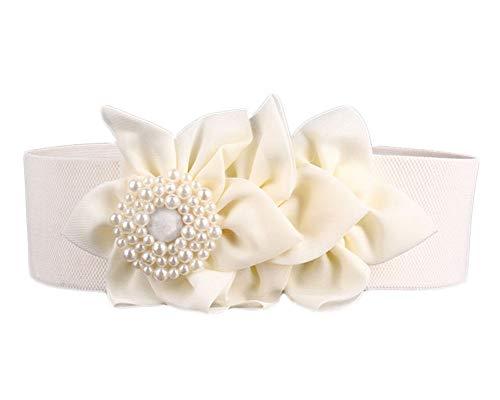 Nanxson Women's Elastic Ladies Fashion Dress Casual Belt with Decorative Flower PDW0050 - Flowers Buckle White Belt