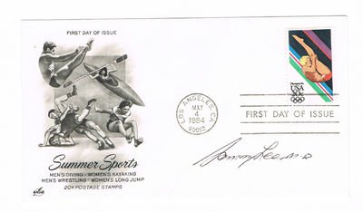 - FIRST DAY COVER CELEBRATING THE 1984 SUMMER OLYMPICS SIGNED BY OLYMPIC GOLD MEDAL WINNING DIVER SAMMY LEE.