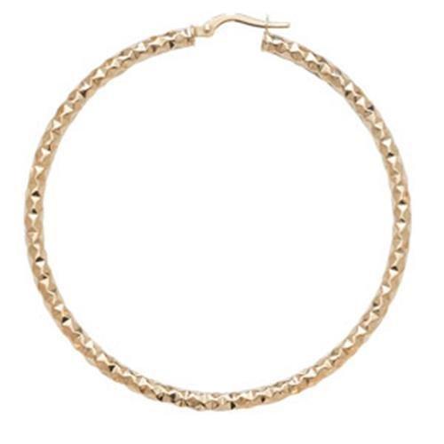 Or 9ct Coupe Diamant Boucles d'oreilles créoles 50mm