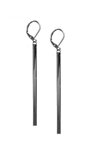 Dangling Square Rod Earrings w/Lobster Clasp, 78mm (Hematite)