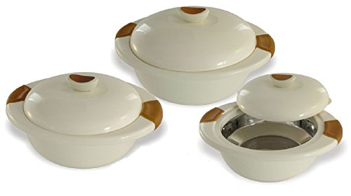 InDit Eleganza Thermal Food Server Hot-Pot Casserole, 3-Piece Set, Hot/Cold for upto 6-Hours (Assorted Colors)