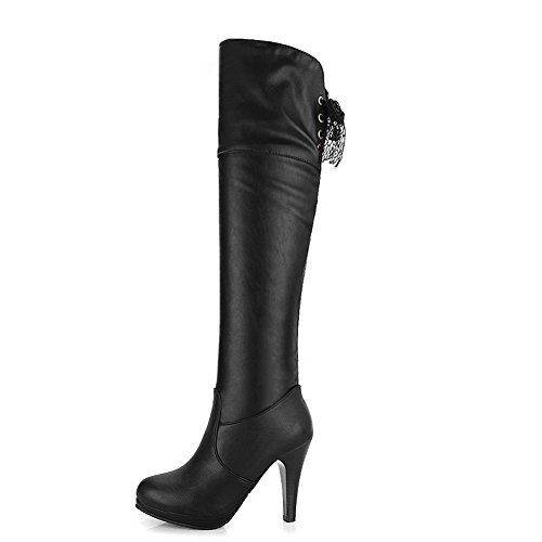 B PU 5 PU US and Heels 5 M Womens Solid with Hollow Soft Black AmoonyFashion Boots Out Material High Stiletto xqwZfTRFAC