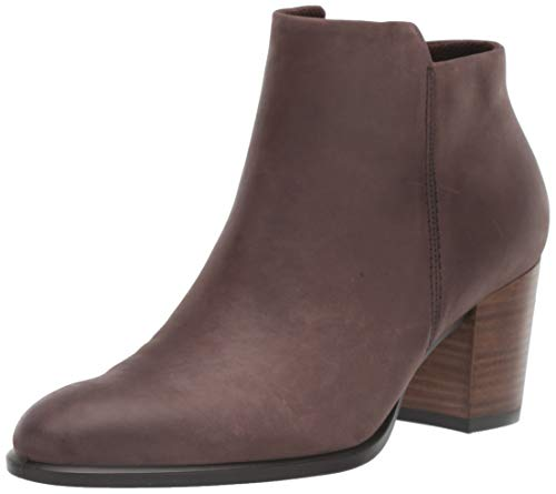 ECCO Women's Shape 55 Stacked Heel Ankle Boot, Mocha Nubuck, 39 M EU (8-8.5 US)