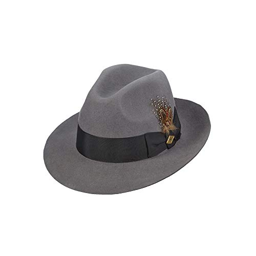 Stacy Adams Men's Cannery Row Wool Felt Fedora Hat, Gray, XX-Large