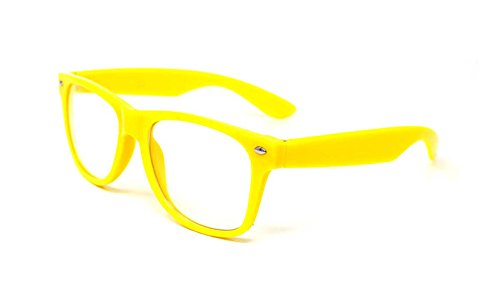 Yellow Adult Costume Glasses Classic Style Glasses Multi Colour Clear Lens Classic Frames Perfect for Costumes Parties Costume Cos Play Glasses Gift Nerds Glasses Men Nerd Glasses Hipsters