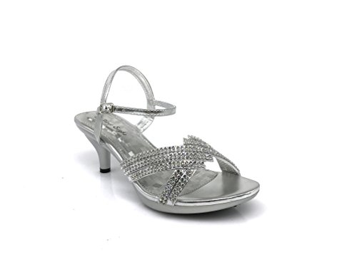 PROMI01 Women's Classic Elegant Low Mid Heels Criss Cross X Strap Rhinestone Wedding Party Platform Open Toe Wedge Shoes (10, Silver)