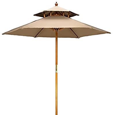 7' Wood 2 Tier Pagoda Style Patio Umbrella by Trademark Innovations (Tan) - 7' diameter, beech wood frame umbrella with double pulley system. Wood is treated with weather resistant lacquer finish 2 tier ventilated pagoda style top with 6 wood ribs Insert pole into base (not included) gently to avoid scratching - shades-parasols, patio-furniture, patio - 31lI5LXtc%2BL. SS400  -
