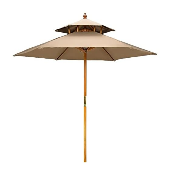 7' Wood 2 Tier Pagoda Style Patio Umbrella by Trademark Innovations (Tan) - 7' diameter, beech wood frame umbrella with double pulley system. Wood is treated with weather resistant lacquer finish 2 tier ventilated pagoda style top with 6 wood ribs Insert pole into base (not included) gently to avoid scratching - shades-parasols, patio-furniture, patio - 31lI5LXtc%2BL. SS570  -
